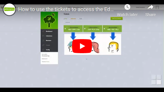 How to use the tickets to access the Educaplay groups